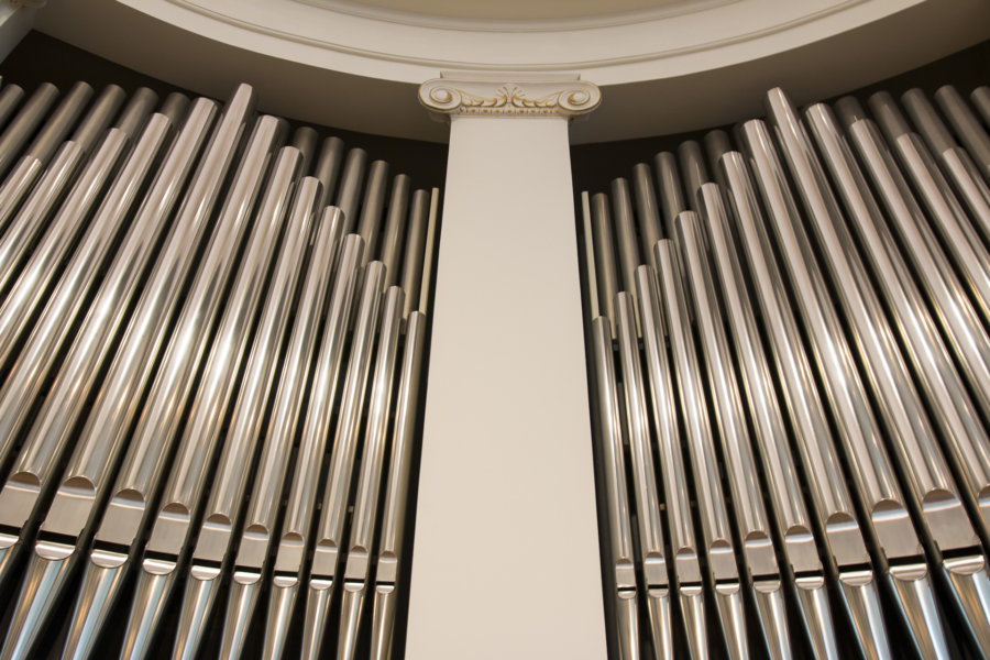 Organ pipes as seen from the stage